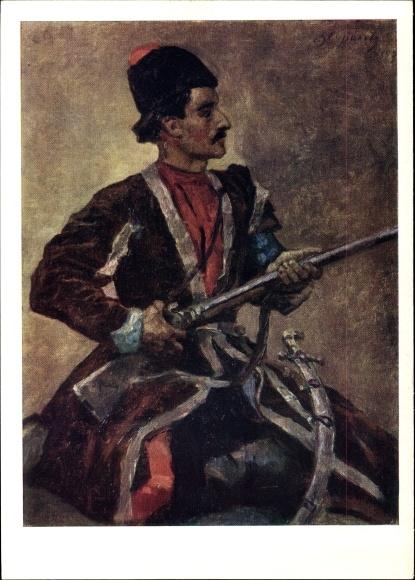 Künstler Ak Surikow, W. I., Kasak, Mann mit Uniformjacke und Gewehr
