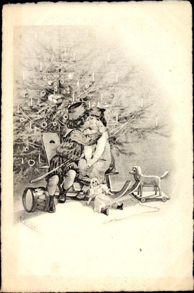Künstler Ak Dücker, Frohe Weihnachten, Paar auf Schlitten vor ...