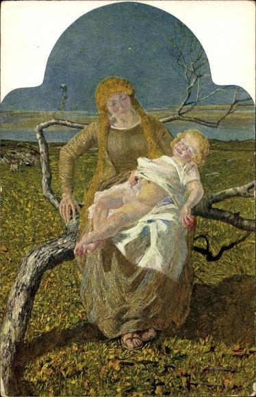 Künstler Ak Segantini, Giovanni, Mutterglück, Frau mit Kind
