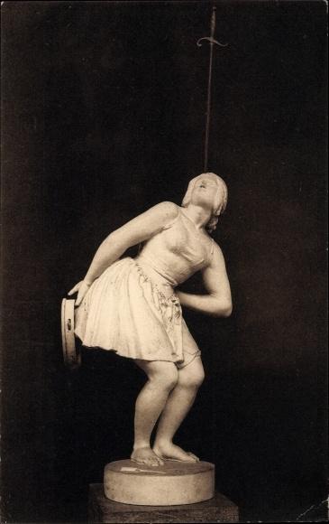 Ak Plastik von Antoine Joseph Wiertz, Une femme athlete, Turnerin, balanciert Degen