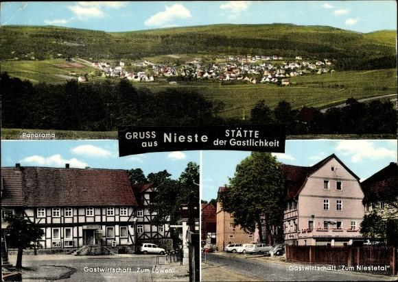 Ak Nieste in Hessen, Panorama, Gastwirtschaft Zum Löwen und Zum Niesetetal