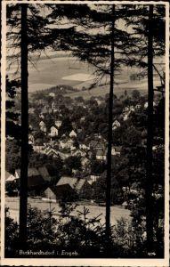 Ak Burkhardtsdorf im Erzgebirge Sachsen, Blick auf Ortschaft und Umgebung, Waldpartie