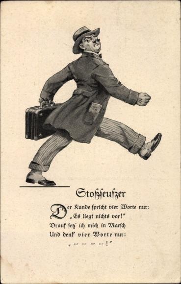 Ak Stoßseufzer eines abgewiesenen Vertreters, Anzug, Mantel, Aktenkoffer