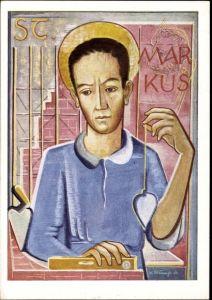 Künstler Ak Strauß, W., St. Markus, Patron der Maurer