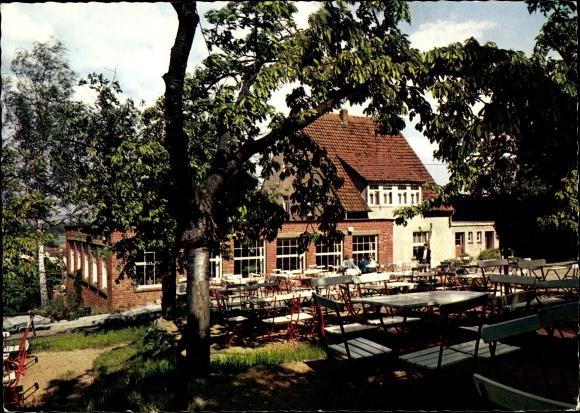 Ak Esbeck Schöningen in Niedersachsen, Gasthaus Waldfrieden a. Elm, Gerhard Fischer, Gartenpartie