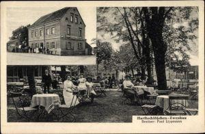 Ak Zwenkau in Sachsen, Gastwirtschaft Harthschlösschen, Inh. Paul Lippmann, Gäste im Garten