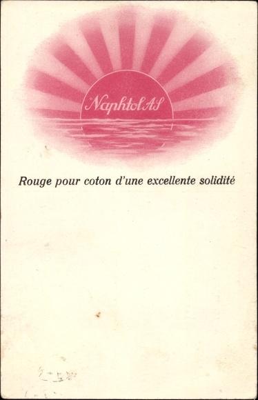 Ak Reklame, Naphtol AS, Textilfarbe, Rouge pour coton d'une excellente solidite