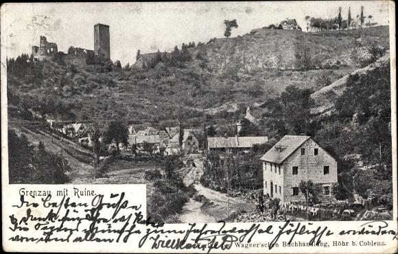 Ak Grenzau Höhr Grenzhausen im Westerwaldkreis, Ortsansicht mit Ruine