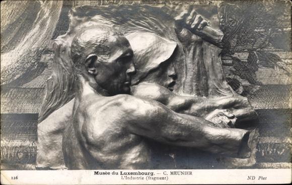Ak Relief von C. Meunier, Musée du Luxembourg, L'Industrie