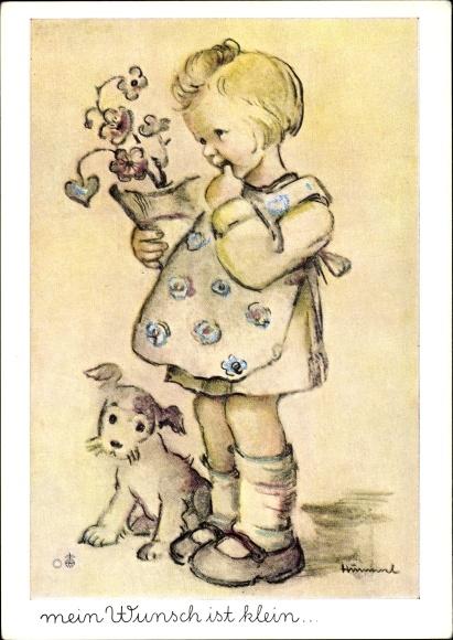 Künstler Ak Hummel, Mein Wunsch ist klein, Mädchen mit Blumentopf, Hund, Nr. 5900