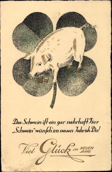 Ak Glückwunsch Neujahr, Das Schwein ist ein gar nahrhaft Tier, Kleeblatt
