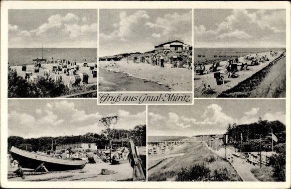Ak Graal Müritz im Kreis Rostock, Strandpartie, Boote 0