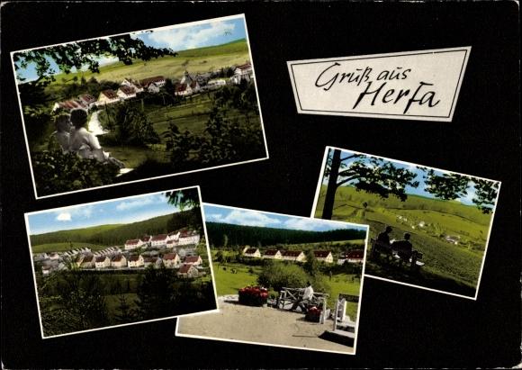 Passepartout Ak Herfa Heringen an der Werra, Ansichten vom Ort, Siedlung
