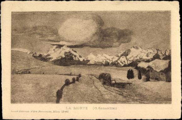Künstler Ak Segantini, Giovanni, La Morte, Der Tod, Winter, Schnee, Wolken
