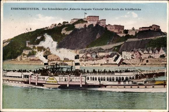 Ak Ehrenbreitstein Koblenz am Rhein, Schnelldampfer Kaiserin Auguste Victoria passiert Schiffbrücke