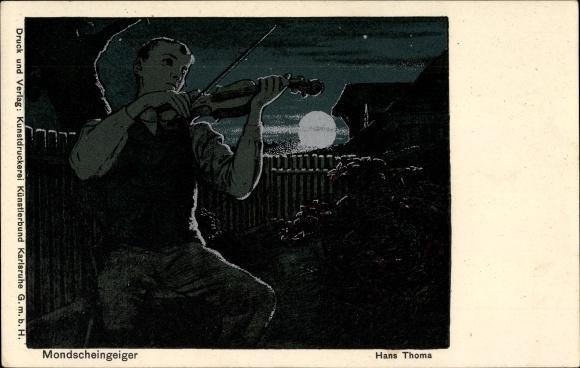 Silber Künstler Ak Thoma, Hans, Mondscheingeiger, Nachtszene