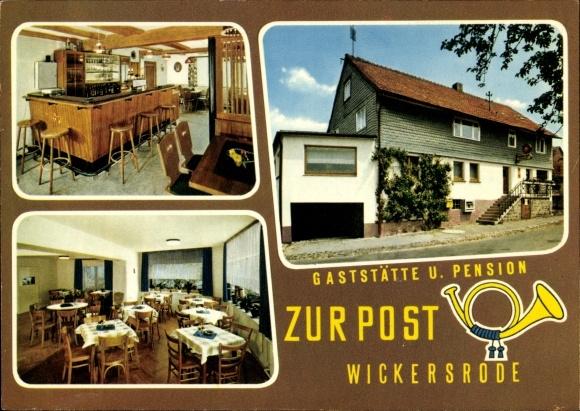 Ak Wickersrode Hessisch Lichtenau Werra Meißner Kreis, Gaststätte Pension zur Post, Inh. A. Möller