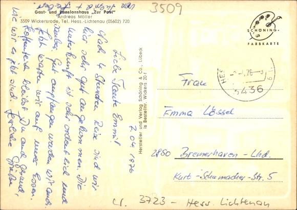 Ak Wickersrode Hessisch Lichtenau Werra Meißner Kreis, Gaststätte Pension zur Post, Inh. A. Möller 1