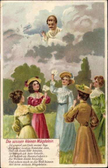 Präge Litho Die süßen kleinen Mägdelein, Verstorbener Mann schaut vom Himmel herab