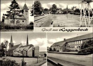Ak Laggenbeck Ibbenbüren im Tecklenburger Land, Blick auf die Kirche, Freibad, Straßenansicht