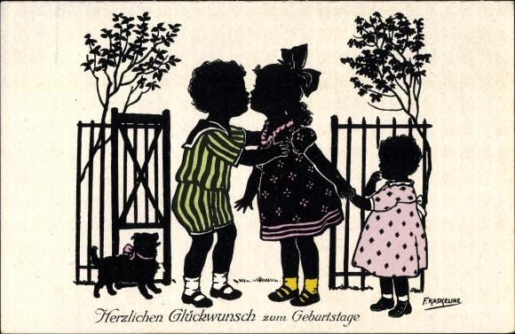 Scherenschnitt Ak Kaskeline, F., Glückwunsch Geburtstag, Kuss