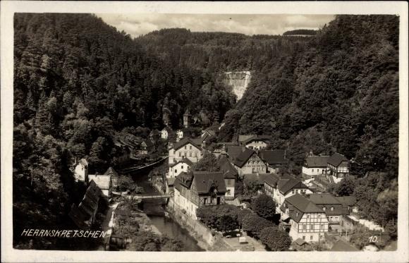 Ak Hřensko Herrnskretschen Elbe Reg. Aussig, Talblick