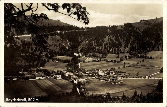 Ak Bayrischzell im Mangfallgebirge Oberbayern, Blick auf Ortschaft und Umgebung
