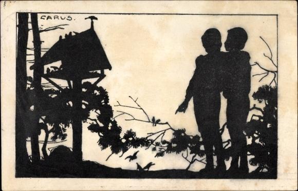 Scherenschnitt Ak Carus, Kinder im Wald, Vogelhäuschen