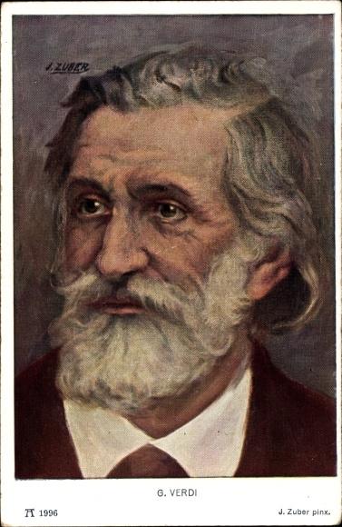 Künstler Ak Ital. Komponist Giuseppe Fortunino Francesco Verdi, Portrait, Ackermann 1996