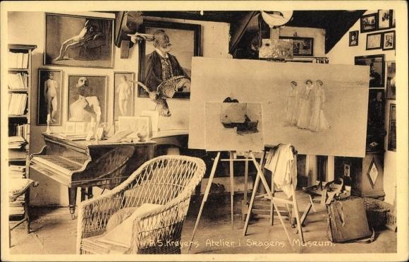 Ak Skagen Frederikshavn Dänemark, R. S. Kroyers Atelier, Skagens Museum
