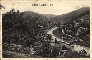 Ak Altena im Märkischen Kreis, Blick auf die Stadt aus der Vogelschau