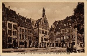 Ak Weimar in Thüringen, Blick auf Markt und Rathaus vor dem Brand 1838