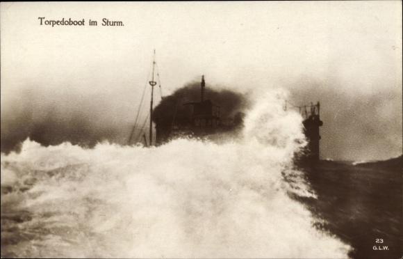 Ak Deutsches Kriegsschiff, Torpedoboot im Sturm, Kaiserliche Marine