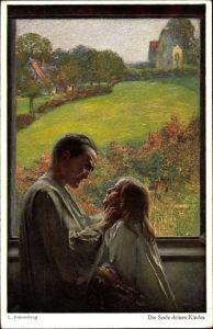 Künstler Ak Fahrenkrog, Ludwig, Die Seele deines Kindes, Mann mit Tochter am Fenster