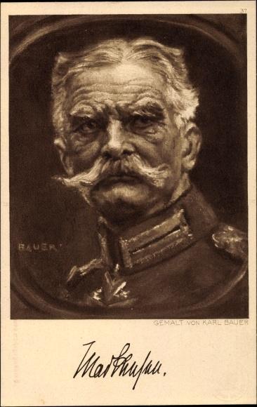 Künstler Ak Bauer, Karl, Generalfeldmarschall August von Mackensen, Portrait, Ostpreußenhilfe 1915