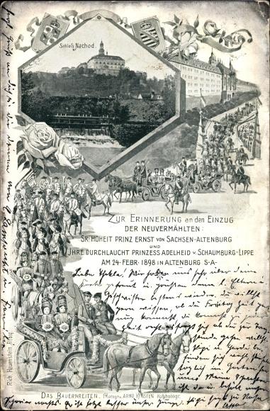 Ak Altenburg in Thüringen, Einzug der Neuvermählten 1898, Prinz Ernst von Sachsen Altenburg