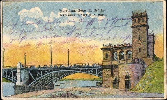 Ak Warszawa Warschau Polen, Neue III. Brücke, Nowy trzeci most