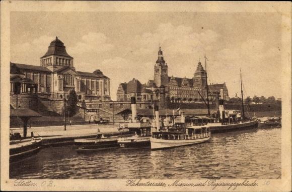 Ak Szczecin Stettin Pommern, Hakenterrasse, Museum, Regierungsgebäude