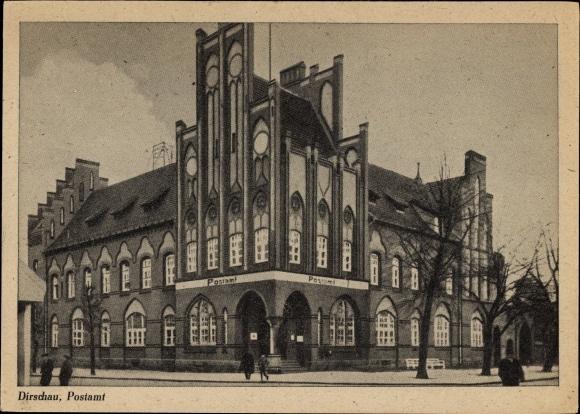 Ak Tczew Dirschau Pommern, Blick auf das Postamt, Außenansicht von der Straße