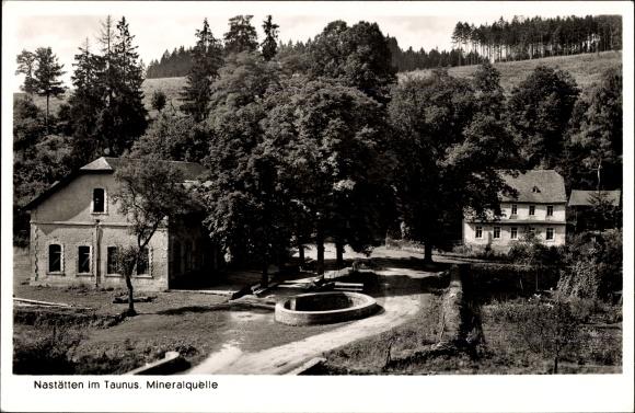 Ak Nastätten im Rhein Lahn Kreis, Mineralquelle, Blick auf Ortschaft und Umgebung