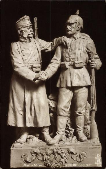 Ak Plastik von Martin Götze, Vereint gesiegt, Soldaten, FOW 279