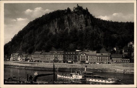 Ak Děčín Tetschen Bodenbach Elbe Reg. Aussig, Schäferwand, Elbdampfer Bodenbach