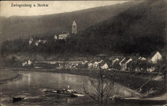 Ak Zwingenberg a. Neckar, Blick zum Ort mit Kirche, Neckarfähre