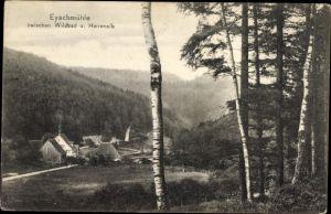 Ak Eyachmühle Dobel im Enztal Baden Württemberg, Ortschaft mit Landschaftsblick