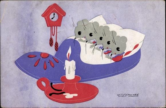 Künstler Ak Schermelé, Willy, Mäuse schlafen in einer Pantoffel
