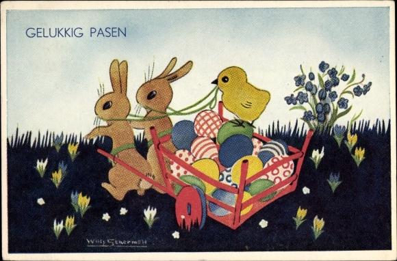 Künstler Ak Schermelé, Willy, Glückwunsch Ostern, Osterhasen, Ostereier, Küken