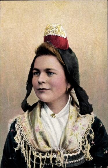 Ak Hessische Trachten, Hessenmädchen, Portrait, Kopfbedeckung