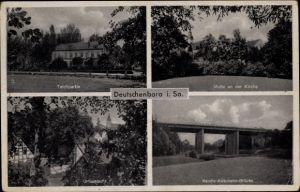 Ak Deutschenbora Nossen Landkreis Meißen, Teichpartie, Kirche, Ortsansicht, Autobahnbrücke