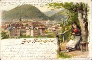 Litho Friedrichroda Thüringen, Frau in Tracht, Blick auf Ortschaft und Umgebung