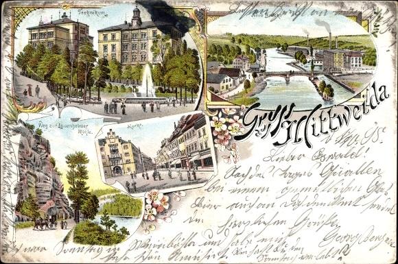 Litho Mittweida in Sachsen, Technikum, Markt, Neue Brücke, Lauenheimer Mühle
